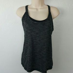 Lululemon cross back strap top gray black size 4